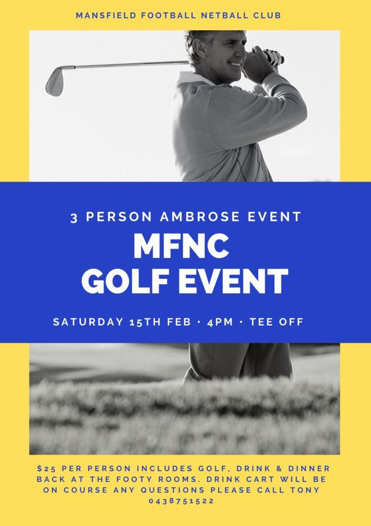 Mansfield Football Netball Club Golf Day 2020